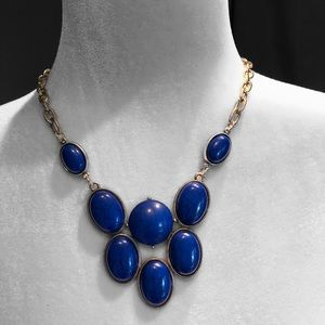 Marbled Blue Faux Stone Necklace Silver Link Chain